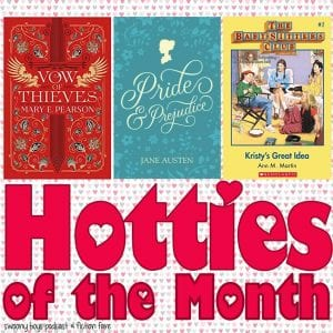 May 2019 Hotties of the Month ft. Jase from Vow of Thieves and Dance of Thieves by Mary E. Pearson, Fitzwilliam Darcy from Pride and Prejudice by Jane Austen, and Logan Bruno from The Babysitter's Club by Ann M. Martin